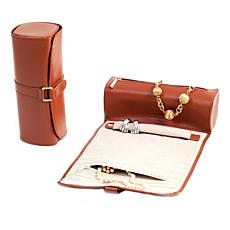 Bey-Berk Tan Leather Jewelry Roll