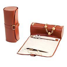Bey-Berk Tan Leather Jewelry Roll