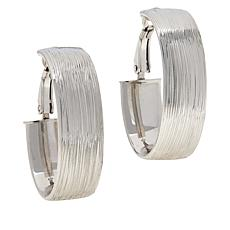 Bianca Milano Sterling Silver Brushed Oval Hoop Earrings