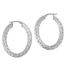 Bianca Milano Sterling Silver Two-Finish Flat Hoop Earrings