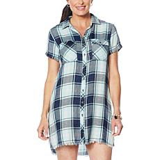 Billy T Coastal Blooms Button-Up Shirt Dress