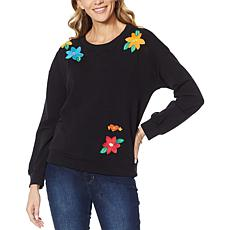 Billy T Pop-Up Floral Embroidered Sweatshirt