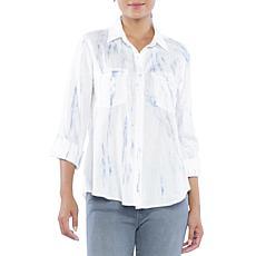 Billy T Roll-Tab Sleeve Blue Tie-Dye Print Shirt
