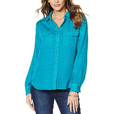 Billy T Ruffled Back Button Down