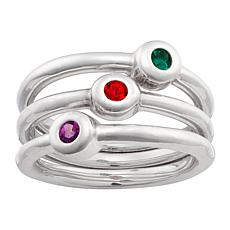 Birthstone Crystal Round Stackable Ring - Set of 3