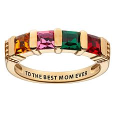 Birthstone Crystal Sterling Silver 4-Stone Engravable Mom's Ring
