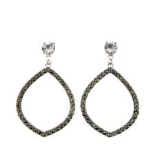 Black Marcasite and Clear Topaz Marquise-Shaped Drop Earrings