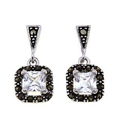 Black Marcasite and CZ Sterling Octagonal Drop Earrings