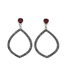 Black Marcasite and Garnet  Marquise-Shaped Drop Earrings