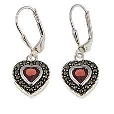Black Marcasite and Garnet Sterling Silver Heart Drop Earrings