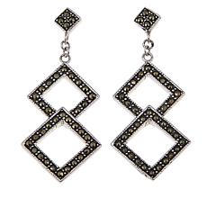 Black Marcasite Interlocking Diamond-Shape Dangle Earrings