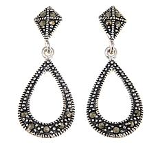 Black Marcasite Sterling Silver Open-Teardrop Dangle Earrings