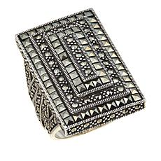 Black Marcasite Sterling Silver Rectangular Statement Ring