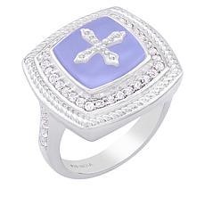 BlesT Sterling Silver Agate and White Topaz Cross Ring