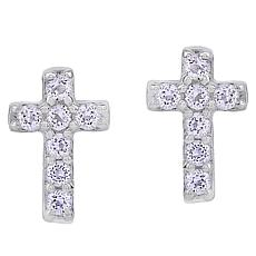 BlesT Sterling Silver White Topaz Cross Stud Earrings