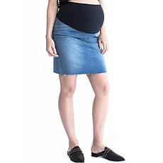 Blooming Women Over Bump Maternity Denim Skirt - Blue