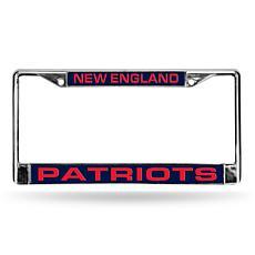 Blue Chrome License Plate Frame - New England Patriots