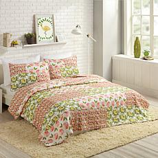Bouffants and Broken Hearts Citrus Flowers 2pc Quilt Set - Twin
