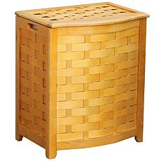 Bowed Front Veneer Wood Laundry Hamper