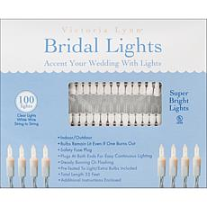 Bridal Lights 100 Count 32 Feet - Clear Bulbs W/White W