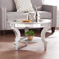 Bridgette Glam Mirrored Round Cocktail Table