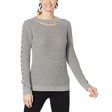Brittany Humble Cable Sleeve Keyhole Sweater