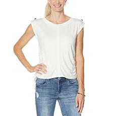 Brittany  Humble Side Cinched Sleeveless Drawstring Top