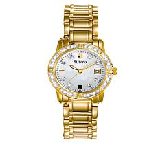 Bulova .10ctw Diamond Bezel Goldtone Bracelet Watch