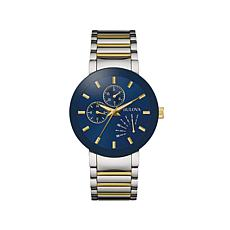 Bulova 2-Tone Blue Dial Chronograph Bracelet Watch