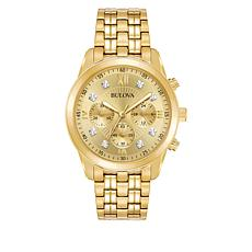 Bulova Goldtone Men's Diamond-Accented Chronograph Watch