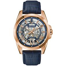 Bulova Goldtone Stainless Steel Men's Leather Automatic Skeleton Watch