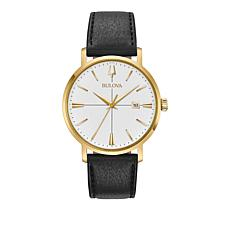 Bulova Men's Aerojet Goldtone Black Leather Strap Watch