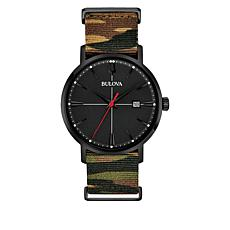 Bulova Men's Black Camo Nylon Strap Date Window Watch