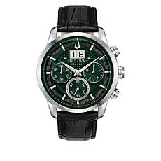 Bulova Men's Black Leather Date Window Chronograph Watch