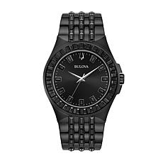 Bulova Men's Black Stainless Steel Black Crystal Baguette Watch
