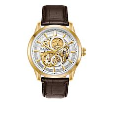 Bulova Men's Goldtone Stainless Steel Brown Leather Automatic Watch