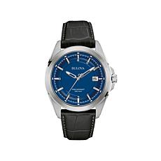 Bulova Men's Precisionist Blue Dial Leather Strap Watch