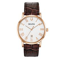 Bulova Men's Rosetone Brown Leather Strap Date Window Watch