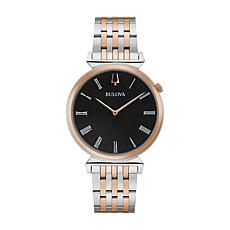 Bulova Men's Two-Tone Stainless Steel Black Dial Slim Watch