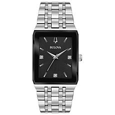 "Bulova ""Quadra"" Stainless Steel Men's Diamond Bracelet Watch"