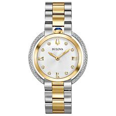 "Bulova ""Rubaiyat"" Two-Tone Goldtone Diamond Women's Bracelet Watch"