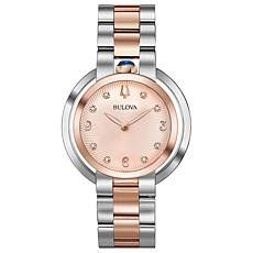 "Bulova ""Rubaiyat"" Two-Tone Rosetone Diamond Women's Bracelet Watch"