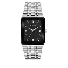Bulova Silvertone Men's Diamond Tank Dial Bracelet Watch