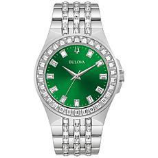 Bulova Stainless Steel Men's Green Dial Crystal Bracelet Watch
