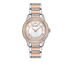 "Bulova ""TurnStyle"" 2-Tone Rosetone Stainless Floating Crystal Watch"