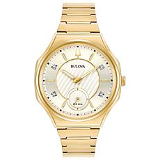 Bulova Women's CURV Diamond Goldtone Stainless Steel Bracelet Watch