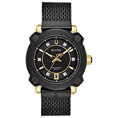 "Bulova Women's ""Precisionist"" GRAMMY® Diamond Black Mesh Watch"