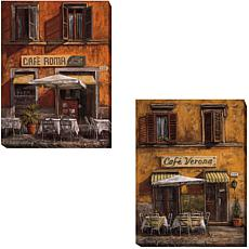"""Cafe Roma & Cafe Verona"" 2-piece Gallery-Wrapped Canva"