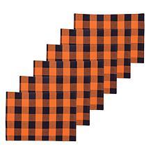 C&F Home Franklin Black/Orange Placemat Set of 6