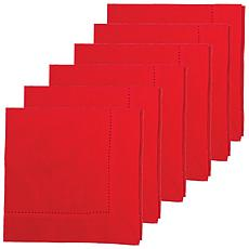 C&F Home Hemstitch Crimson Napkin Set of 6